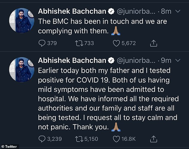 Also tested positive: Following the announcement it was also revealed his son Abhishek had tested positive for coronavirus