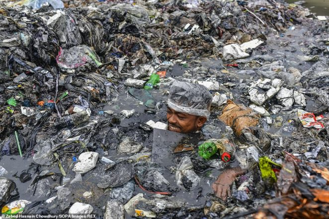 The volunteers swim neck deep in the mountain of urban waste that has turned part of the canal into a landmass