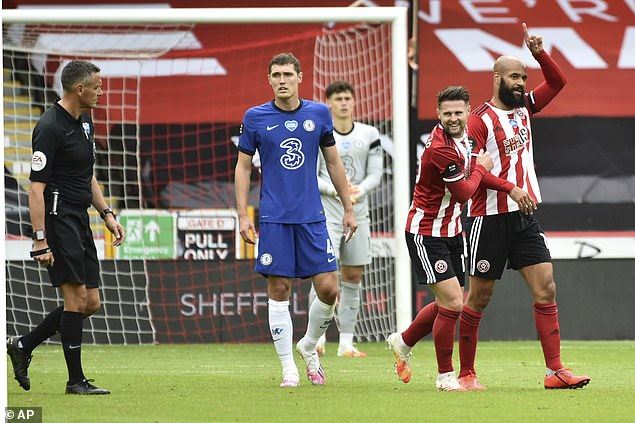 David McGoldrick celebrates after his goal put Sheffield United in the lead at Bramall Lane