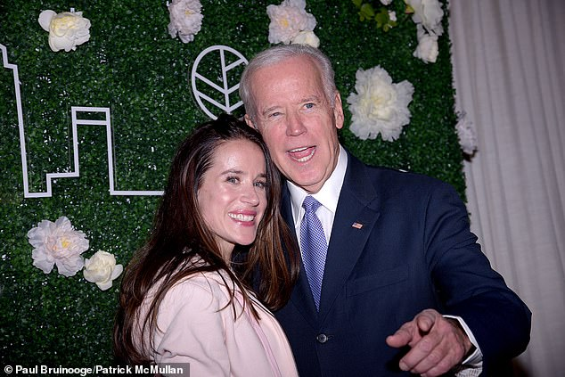 In 2002, it was reported that Ashley Biden was arrested for making 'intimidating statements' toward a police officer after a brawl at a Chicago bar. She is seen with her father in New York City in February 2017
