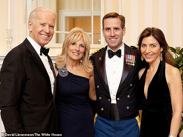 Beau Biden (seen second from right with his wife, Hallie, far right, and his parents, Joe and Jill Biden, in 2012) died in 2015 of brain cancer. He was 46