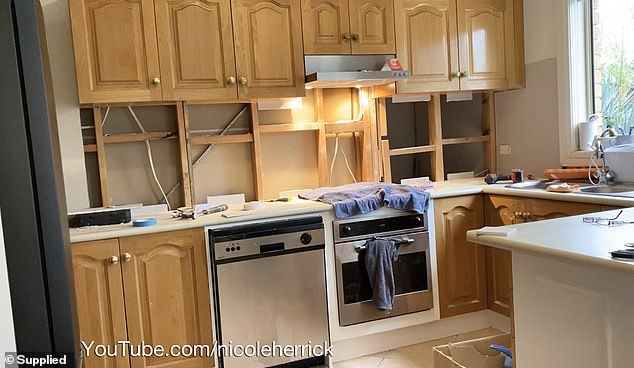 BEFORE:Nicole Herrick, 41, from Melbourne, said she has always dreamed of having a nice kitchen, but it's so expensive to move somewhere that has your dream setup