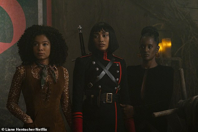 Top notch cast: 'The cast, beginning with Kiernan as everyone's favorite teen witch, has been an absolute joy,' wrote Aguirre-Sacasa; Jaz Sinclair, Tati Gabrielle, and Skye P. Marshall as Rosalind, Prudence, and Mambo in Part Four of the Chilling Adventures Of Sabrina