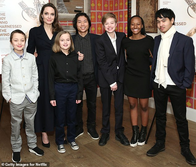 Mother of six:Angelina and Brad share six children together - Maddox, 18, Pax, 16, Zahara, 15, Shiloh, 14, and twins Knox and Vivienne, 11; pictured in February 2019