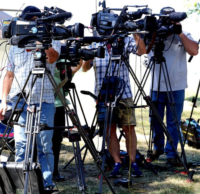 Plenty of media gathered nearby along the banks of the lake as they waited for news of the operation