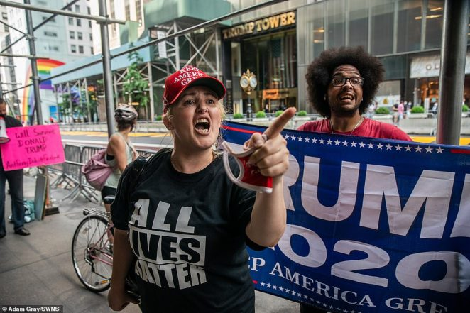 The Trump supporters were seen engaging in heated discussions with opponents of the president near Trump Tower on Saturday