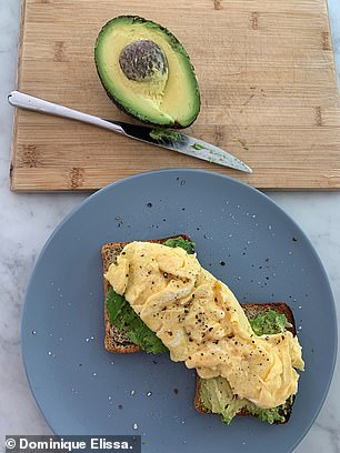 The second thing Dominique said she won't do again unless it's a special occasion is buy avocado toast from a cafe for $18 (pictured)