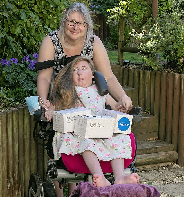 The charity has said that young children such as Chloe Harris, 13, (pictured with her mother Sally) are struggling to receive sufficient care and calling on the Government to help them. WellChild has helped over one thousand families in the pandemic by giving them 145,000 PPE masks