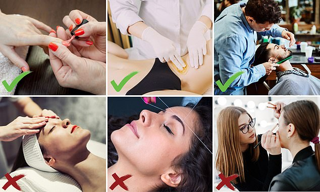 Only services that do not involve work in the highest risk zone ¿ directly in front of the face ¿ will be made available to clients, meaning facial treatments (bottom left), eyebrow threading (bottom centre) and make-up application (bottom right) is banned. From today, Britons can get manicures (top left), beard trimming (top right) and bikini and leg waxing (top centre)