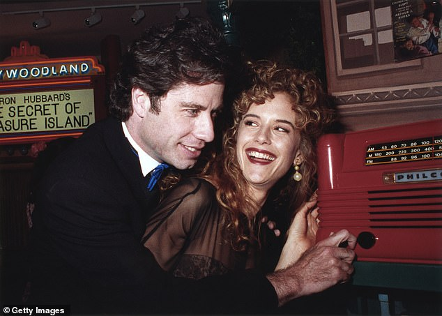 John Travolta and his wife Kelly Preston at the opening of the Church of Scientology Museum in Los Angeles in 1991