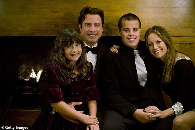 John Travolta, his wife Kelly Preston and their children Jett and Ella in an undated image