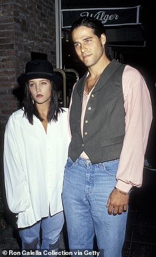 Lisa Marie Presley with Benjamin's father, Danny Keough, in a Californian theater in 1991