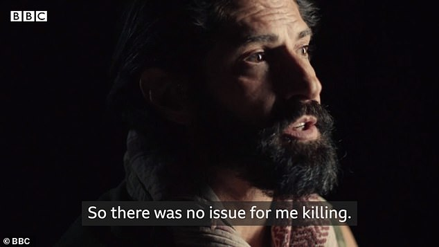 Reyes, who left the military in 2005, tells how killing 'was not an issue' because it was something he had been 'systematically trained' to do. Pictured, in the documentary