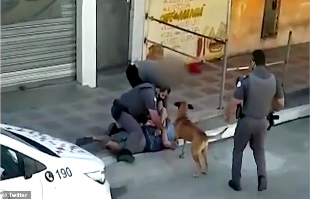 The woman, pictured struggling with officers as they arrest her friend, said she passed out four times during the ordeal that also left her with a broken leg and needing 16 stitches
