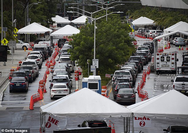 Cars seen online as drivers wait to be tested for COVID-19 on Sunday in Miami Beach
