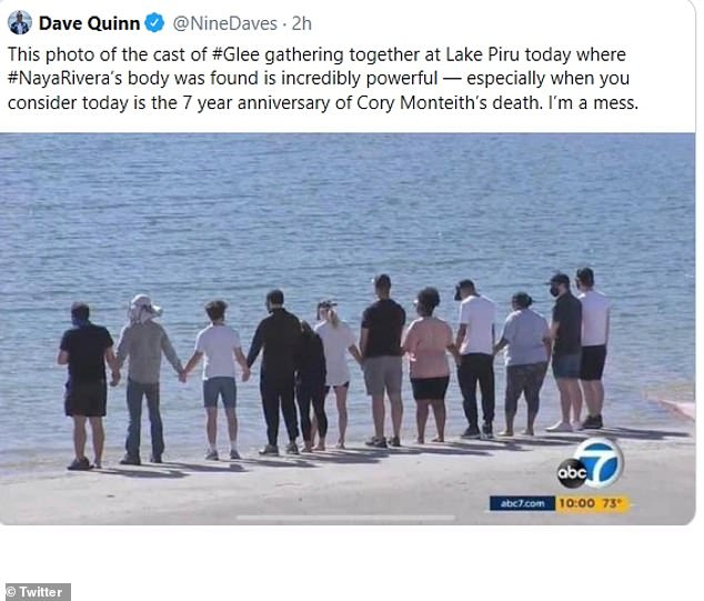 Some of the cast of Glee gathered at Lake Piru on Monday after Naya's body was discovered