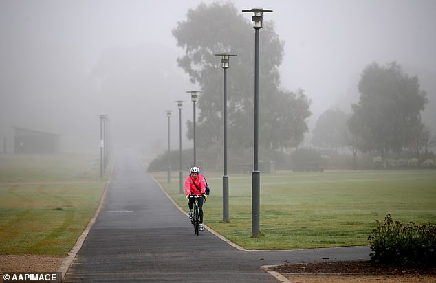 A cyclist rides through fog in Victoria Park in central Adelaide. The Bureau of Meteorology said the conditions were caused by moisture in the air left over from the weekend's rainfall