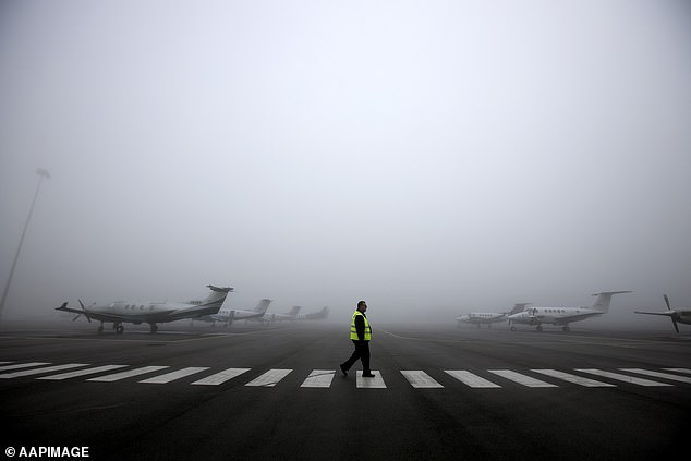 Thick fog blanketing Adelaide on Tuesday morning has temporarily grounded more than 10 flights at the city's airport as visibility reduced to just 100m