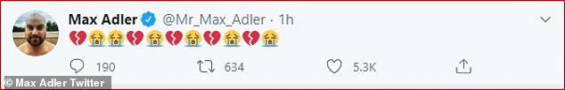 Devastated:Max Adler, who played football player Dav Karofsky, continued the social media tributes as he posted several broken heart and crying emojis