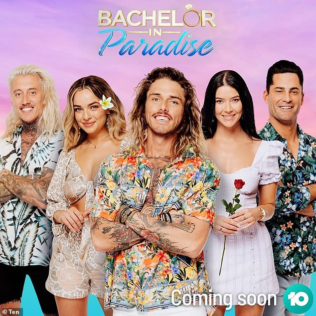 Single and ready to mingle: Now, Timm is set to star in season three of Bachelor in Paradise along with other single stars from the Bachelor franchises including Ciarran Stott (left), Abbie Chatfield (second left), Brittany (second right) and Jamie Doran (right)