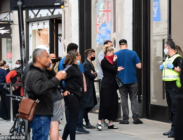 The actress and her partner Bianca Butti were seen browsing shops including the Apple store