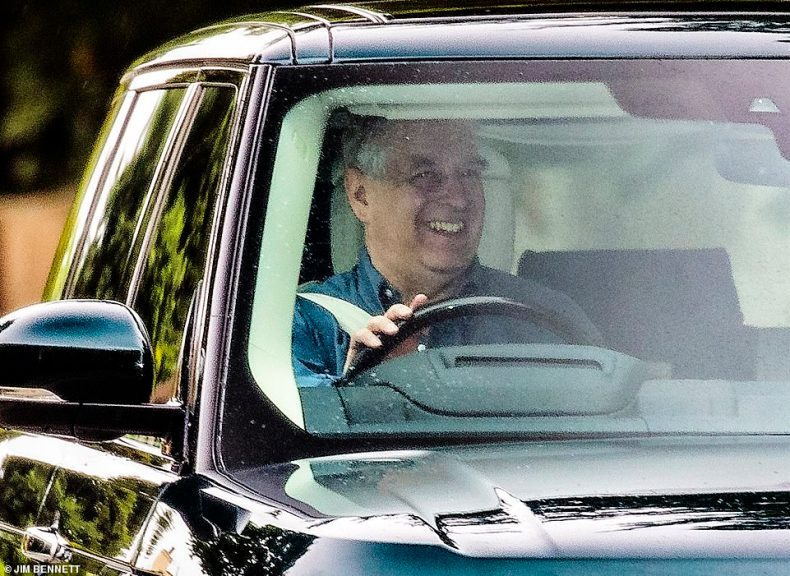 Prince Andrew looked a happy man today despite chaos caused by the death of his friend Jeffrey Epstein and Ghislaine Maxwell's arrest