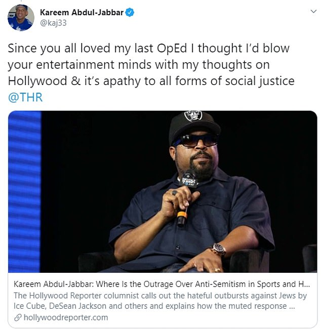 Jabbar promoted his new column on Tuesday amid the controversy surrounding Ice Cube's tweets and Nick Cannon's podcast in which he spread anti-Semitic conspiracy theories