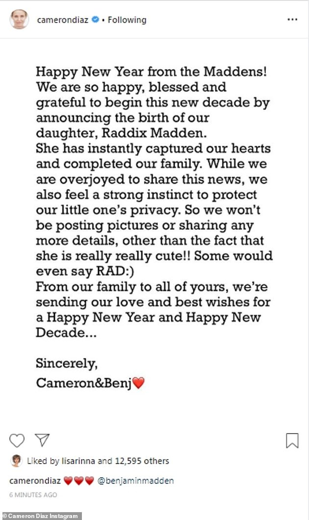 The secret is out!  Cameron said she felt `` happy '' and `` blessed '' by sharing the news with her fans on Instagram earlier this year