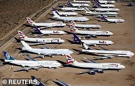 Cemetery: BA 747-400 among planes stored in the California desert