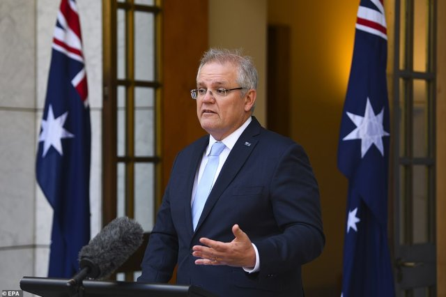 Scott Morrison (pictured) said the situation in Victoria meant that the state will likely be excluded from a trans-Tasman travel bubble between Australia and New Zealand