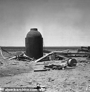 Jumbo pictured above after the atomic blast. Two years later, General Groves ordered Jumbo to be destroyed with TNT before its useless $12 million expense came to the attention of a congressional investigations committee. Impervious to TNT, the Army then buried Jumbo in the desert near the Trinity site and it wasn't discovered until the early 1970s