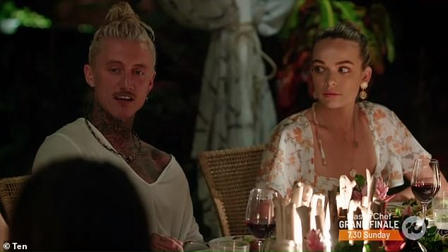 Bringing the drama! It's possible producers of the hit Channel 10 show kept Abbie in Fiji for a few days before having her return as an intruder to stir up some trouble for her former co-stars budding relationships (Abbie is oictured with Ciarran Stott)