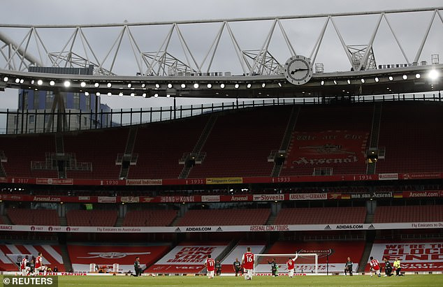 Premier League fixtures have been taking place behind closed doors since football returned last month. Pictured is Wednesday night's Arsenal vs Liverpool game at the Emirates Stadium