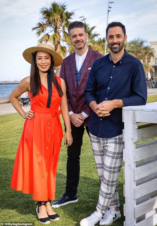 Unique: One of the first looks that caught fans' attention on MasterChef, was Melissa's orange Ted Baker mini-dress, which was worn during one of the show's early outdoor shoots. She is pictured in the frock alongside fellow judges Jock Zonfrillo (centre) and Andy Allen (right)