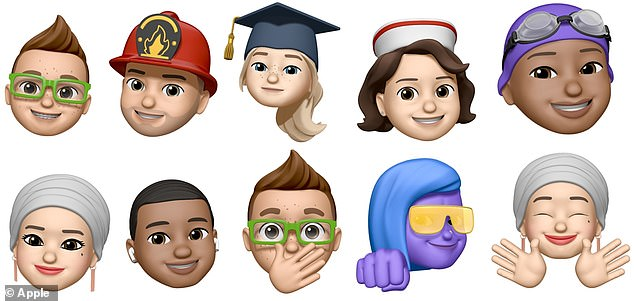 Part two. Top: faux hawk, firefighter's helmet, graduation cap, nurse's cap, swimmers' cap. Bottom:titchel, hair 'waves', shock, fist bump and hands gesture