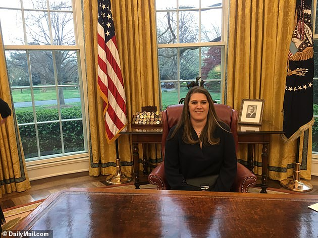 Mary Trump, seen seated at the Resolute Desk in the Oval Office during a visit in April 2017