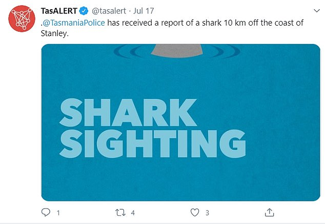 Tasmania Police issued a warning to water users after receiving alerts of a shark sighting 10km off the coast of Stanley on Friday