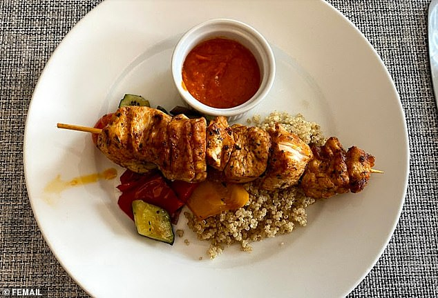 A little more than a spoonful of quinoa, Mediterranean vegetables and a skewer of turkey breast. The meal was lovely, but so inadequate to properly energise me after how much exercise I'd just done