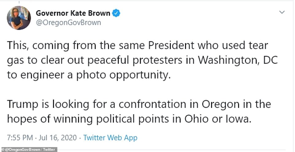 Brown suggested Trump was hypocritical in his criticisms of Portland because of his widely condemned St John church photo-op that caused authorities to use tear gas on peaceful protesters in Washington, DC