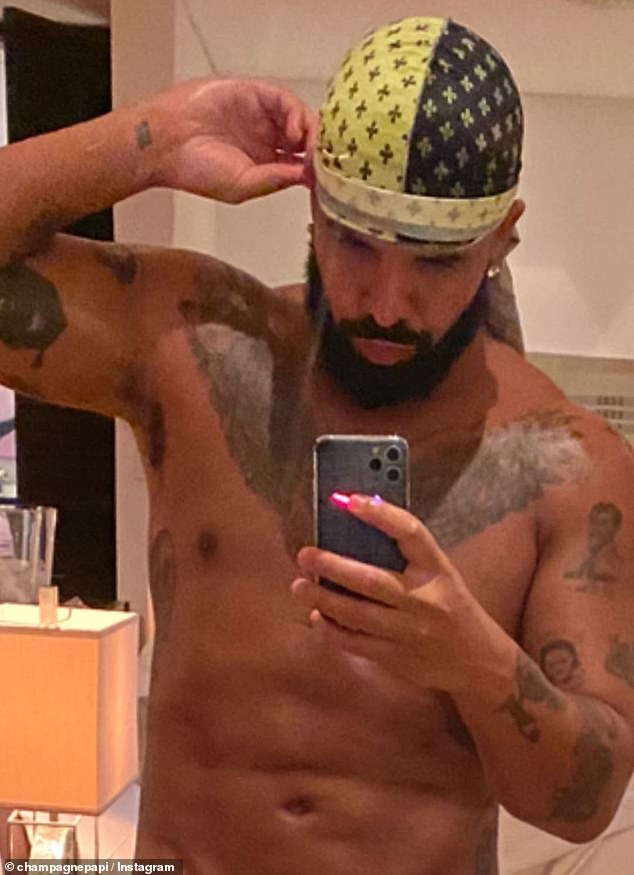 Hot bod: Drakeflashed his six-pack Saturday in a shirtless mirror selfie, as he took to his Instagram Story with some thirst traps from his Barbados vacation