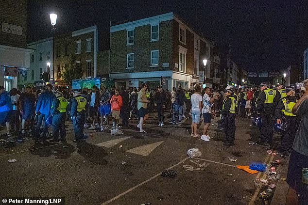 A witness to the block party revealed that 'hundreds' attended the event in central London and claimed some people urinated on the locked-up food stalls belonging to market traders, took cocaine and defecated in the street