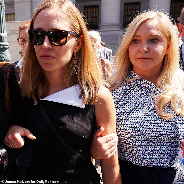 Virginia Roberts Giuffre, right, and Annie Farmer, center, both Jeffrey Epstein accusers, following a hearing in the Jeffrey Epstein case on Tuesday, August 27, 2019 in New York