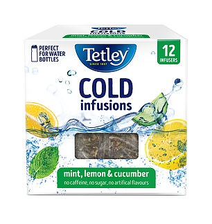 Tetley Cold Infusions Mint, Lemon and Cucumber, £2.50 for 12 bags, from supermarkets