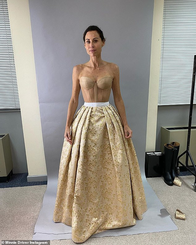 Costume fitting: On February 27, Oscar nominee Minnie Driver - who plays Queen Beatrice - shared a snap of herself getting the 'foundations' of her golden gown assembled
