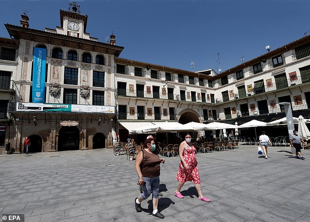 An outbreak was detected after a wedding in Tudela (pictured) where the bride, her mother-in-law and many others tested positive for coronavirus