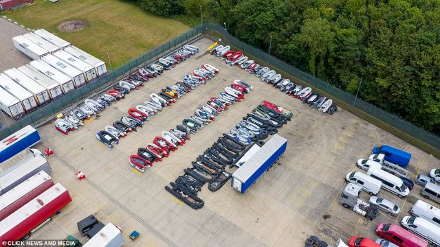 Hundreds of boats can be seen at the storage facility in Dover, Kent. Thousands of migrants have made the perilous journey to cross the Channel this year