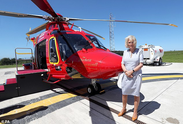 Meanwhile Camilla was non-fazed as an emergency siren went off during her tour of the base in Newquay