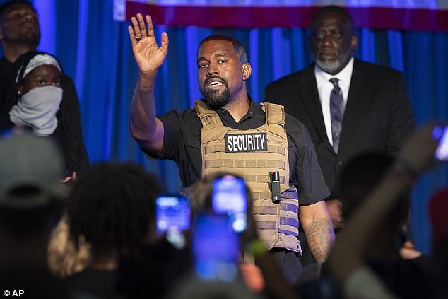 The rapper, donning a bullet proof vest and '2020' shaved into the side of his head, discussed abortion at the rally and claimed that his father wanted to abort him