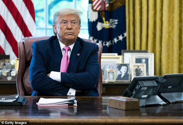 President Trump (pictured) has made repeated attempts to downsize the coronavirus pandemic in an effort to reopen the economy as soon as possible
