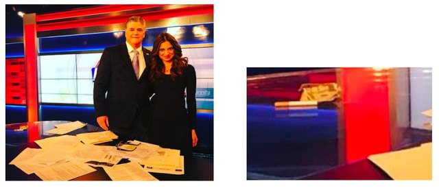 'Mr. Hannity, on set and in front of the entire studio crew – and completely unsolicited – threw $100 on the set desk,' the lawsuit states. 'He then began calling out to the men in the room and demanding that someone take Ms. Areu out on a date for drinks at Del Friscos.' The alleged bill is pictured left and in a zoomed in picture on the right